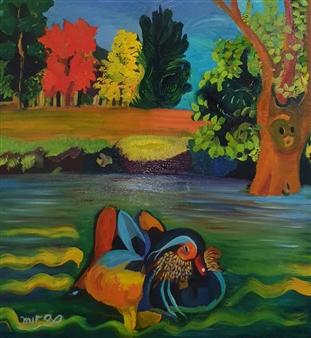 Mira Seeman - Mandarin Duck Oil on Canvas, Paintings