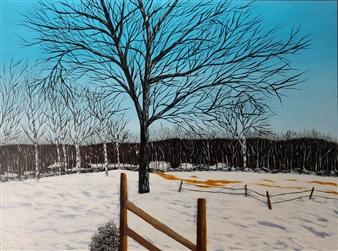 Hezekiah Baker Jr. - Winter is Here Acrylic & Oil on Canvas, Paintings