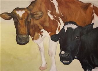 Jonathan Mann - Patrick Family Cows (Ayrshire & Holstein) Acrylic on Canvas, Paintings