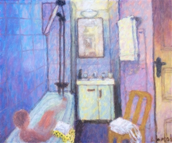 Jenny Ahmad - Cobalt-blue Bathroom, Yellow Chair and Bath Oil on Canvas, Paintings