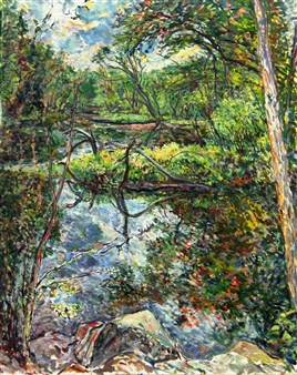 James Chisholm - Trees Within the Ipswich River, Topsfield Oil on Canvas, Paintings