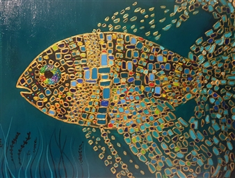 Salome Chelidze - Golden Fish Oil & Acrylic on Canvas, Paintings