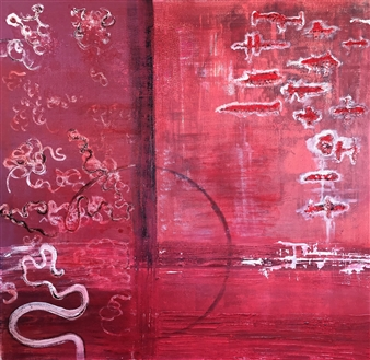 Mariela Soldano - Looking for My Red Mixed Media & Collage on Board, Mixed Media