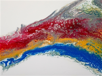 Ali Cockburn - Primary Wave Acrylic on Canvas, Paintings