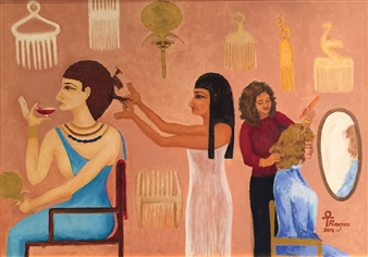 Ragaa Mansour - Hair Dresser Oil on Canvas, Paintings