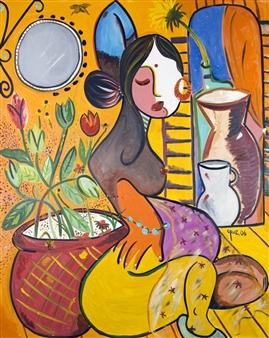 Leandro Miguel Cruz - La Jardin/The Garden Oil on Canvas, Paintings