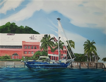 Latoya Tidd - At the Pier Acrylic & Oil on Canvas Board, Paintings