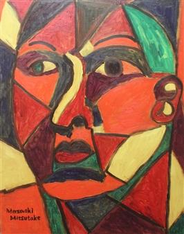 Masaoki Mitsutake - Divided Woman Face No.1 Oil on Canvas, Paintings