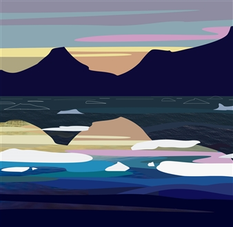 Phil Leith-Tetrault - Tasilaq Fjord at Dusk II Digital Print on Fine Art Paper, Prints