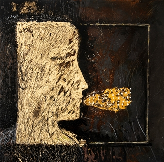 Sigrid Thaler - Roots Gold Leaf and Mixed Media on treated Black Iron, Mixed Media