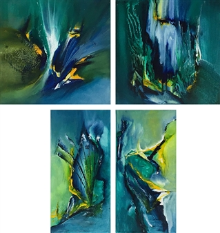 Patricia Queiruga - Oasis (Series of 4) Acrylic on Canvas, Paintings