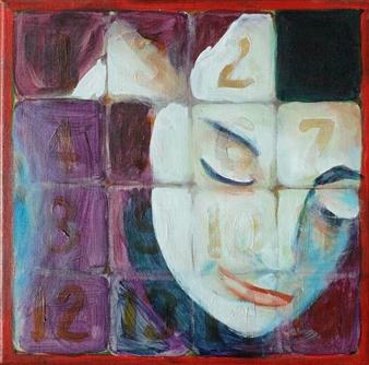 Martin Randall Joyce - Fifteen Puzzle: Sad Face Girl Acrylic on Canvas, Paintings