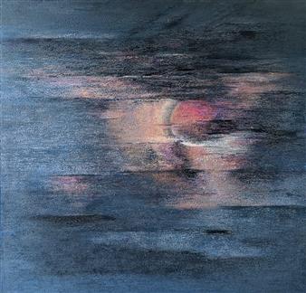 Madhuri Bhaduri - The Moon 2 Oil on Canvas, Paintings