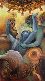Gilberto Arriaza - Coronavirus 20 Oil on Canvas, Paintings