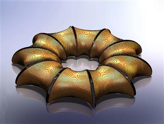 Iftah Geva - Stool, view 2 - 10 pieces Carbon Fiber and Wood, Sculpture