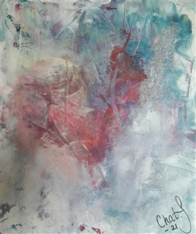 Chatarina Salomonsson - Heart - All I Need is Faceted Love Acrylic on Canvas, Paintings