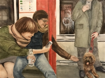 Nancy Holleran - Dog Paparazzi Watercolor & Gouche on Arches, Paintings