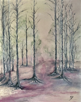 Michael Ocepek - Pink Forest Oil on Canvas, Paintings