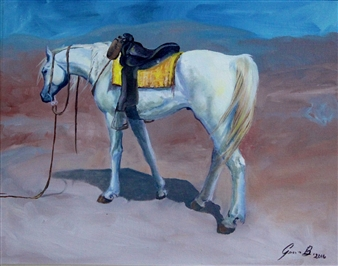 Jenny Blomquist - Trail Horse Oil on Canvas, Paintings