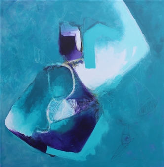 Emmanuelle Auzias - Turquoise Variation #7 Acrylic & Mixed Media on Canvas, Mixed Media