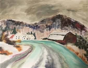 Lauralee Franco - The Road Home, Red Barn Series Oil on Canvas, Paintings
