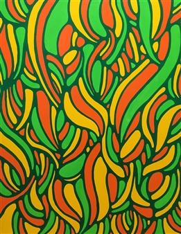 Hiroko Saigusa - Foliage Plants Acrylic on Canvas, Paintings