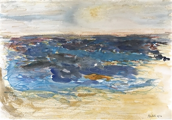 Alaleh Ostad - Seaside Watercolor and Gouache on Canvas, Paintings