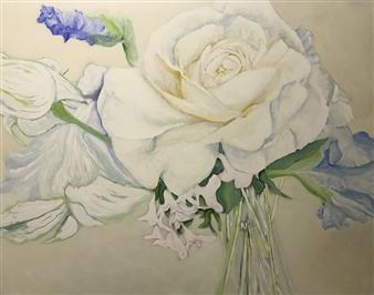Jonathan Mann - Flowers for Fran Acrylic on Canvas, Paintings