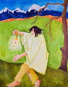 Marliese Scheller - Porteur de Lumiere Oil on Masonite, Paintings