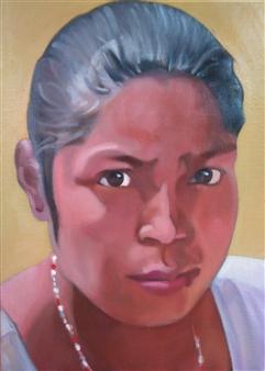 Takumi Kata (TAKU) - A Woman at Swayambhunath Acrylic on Canvas, Paintings
