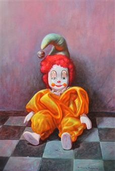 Rodolfo Regaño - Porcelain Harlequin Oil on Canvas, Paintings