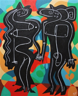Linco7n. - Online Couple Acrylic on Canvas, Paintings