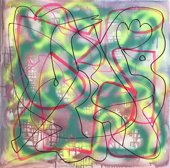 Russell Jacobs - Untitled 1- Big Green Series Acrylic on Canvas, Paintings