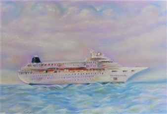 Ognyan Kostov Kolev - Traveling Across the Atlantic Pastel-Chalk on Special French Paper, Paintings