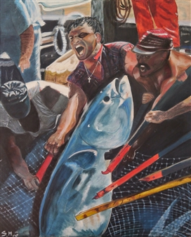 Silvia Mónica Giammatteo - Pesca del Atun Acrylic on Canvas, Paintings
