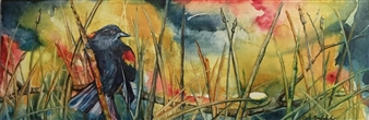 D. L. Brabander - Red Wing Blackbird III Watercolor on Canvas, Paintings