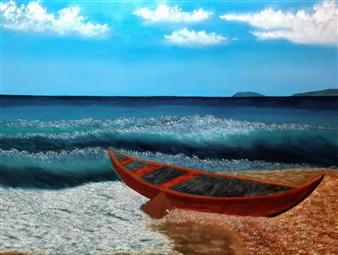 Hezekiah Baker Jr. - The Sitting Boat Acrylic & Oil on Canvas, Paintings