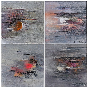 Madhuri Bhaduri - The Moon 8, quadriptych Oil on Canvas, Paintings