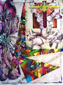 Michael Dolen - Hero/Flower Mixed Media on Paper, Mixed Media