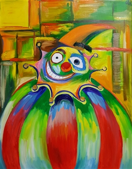 Seo - Portrait of a Clown Oil on Canvas, Paintings