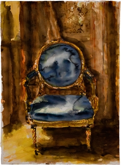 Fernando Ekman - Spanish Royal Chair Watercolor on Paper, Paintings