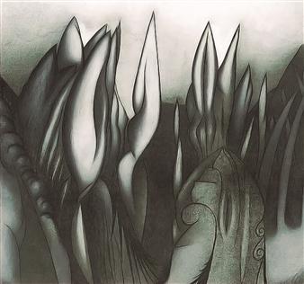 Javier Rivas - Paisaje de Mujer Drawing on Paper, Drawings