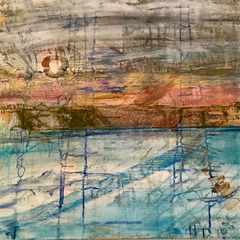 Fleur Cowgill - Beyond Lefkada: Low Sun Oil & Mixed Media on Canvas, Mixed Media