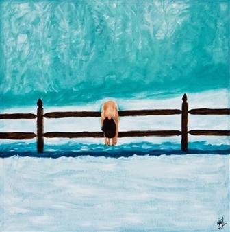Shajeel Rehman - Lonely Girl Oil on Canvas, Paintings