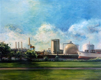 James Chisholm - Edison Plant, Everett, Summer Oil on Linen, Paintings