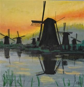 Silvia Mónica Giammatteo - Molinos de Amsterdam Oil on Canvas, Paintings