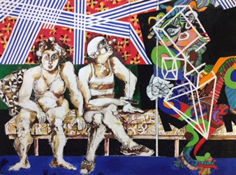 Michael Dolen - Circus Figures and Friend Mixed Media on Paper, Mixed Media