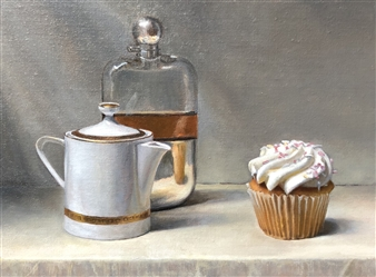 John Britton - Whiskey Tea and Cupcake Oil on Canvas, Paintings