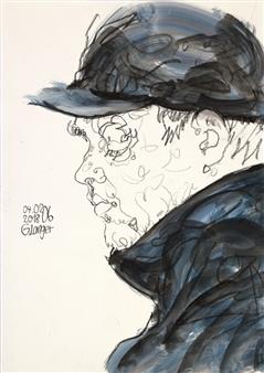 Gunter Langer - Allein Sein Watercolor and Pencil, Mixed Media