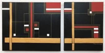 Patricia Queiruga - Orden (diptych) Mixed Media on Canvas, Mixed Media